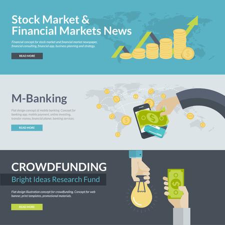 Platte ontwerp illustratie concepten voor het bedrijfsleven, financiën, beurs en de financiële markten nieuws, consulting, business planning en strategie, m-bankieren, online beleggen, mobiel betalen, crowdfunding Stockfoto - 32600979