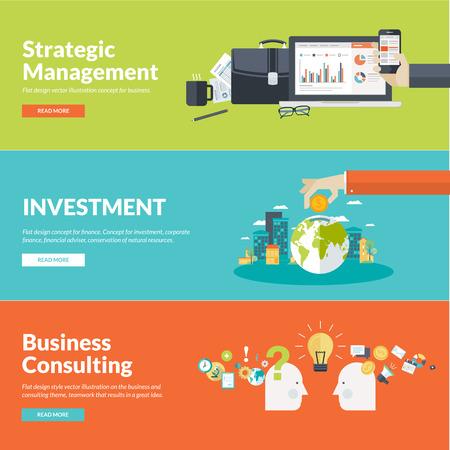 management concept: Piso conceptos de dise�o de ilustraci�n para los negocios, las finanzas, la gesti�n estrat�gica, la inversi�n, las finanzas corporativas, la conservaci�n de los recursos naturales, consultor�a, trabajo en equipo, gran idea Vectores