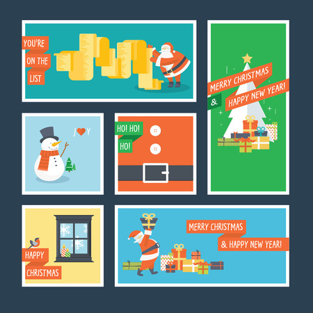 Set of flat design Christmas and New Year greeting cards Vector