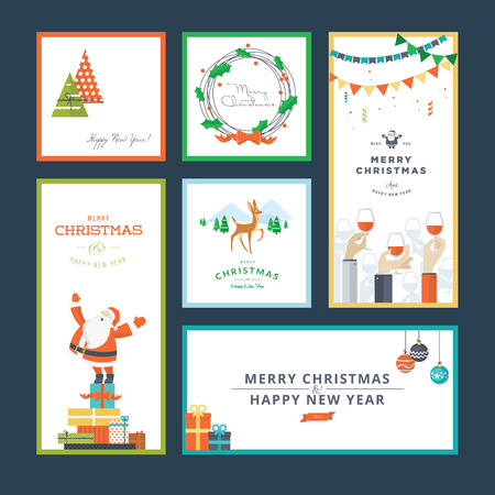 Set of flat design Christmas and New Year greeting card templates Illustration