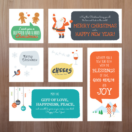 Set of flat design vector illustration Christmas and New Year greeting cards Vector