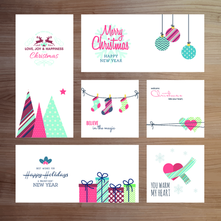 Christmas and New Year greeting card templates Vector