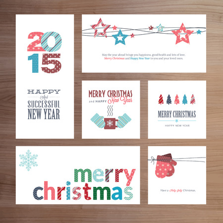 Flat design Christmas and New Year greeting card templates Vector