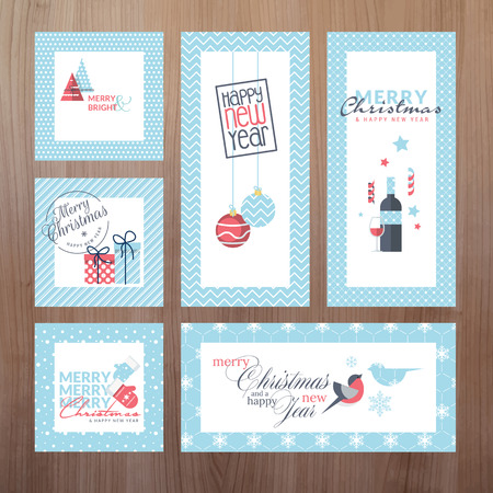 Set of modern Christmas and New Year greeting cards Vector