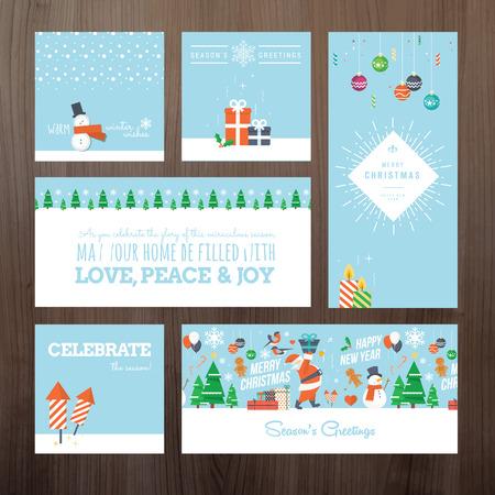 weihnachtskuchen: Set flache Design Weihnachten und Neujahr Grußkarte Konzept