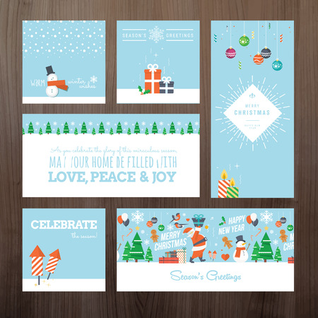 christmas cake: Set of flat design Christmas and New Year greeting card concept