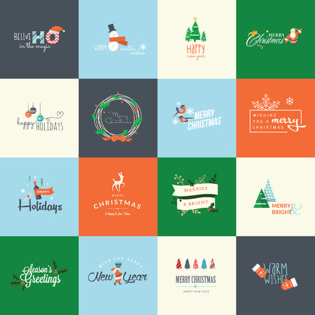 Set of flat design elements for Christmas and New Year greeting cards, labels, badges and printed materials