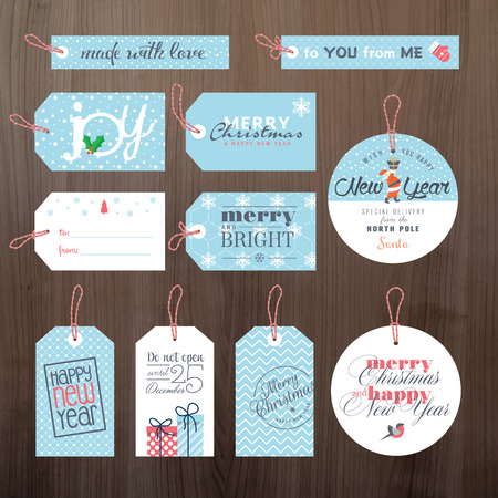 Set of flat design Christmas and New Year tags Vettoriali