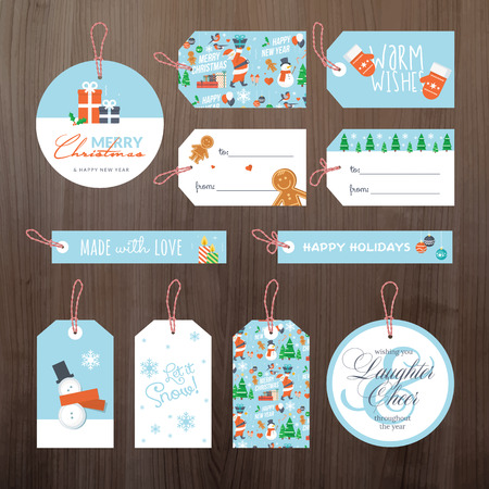 Set of flat design Christmas and New Year tags Vector