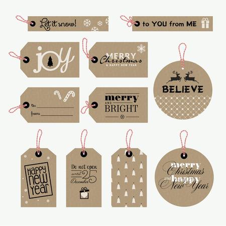 크리스마스와 새해 선물 태그의 집합