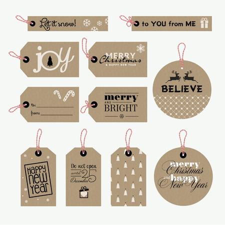 Set of Christmas and New Year gift tags Vector