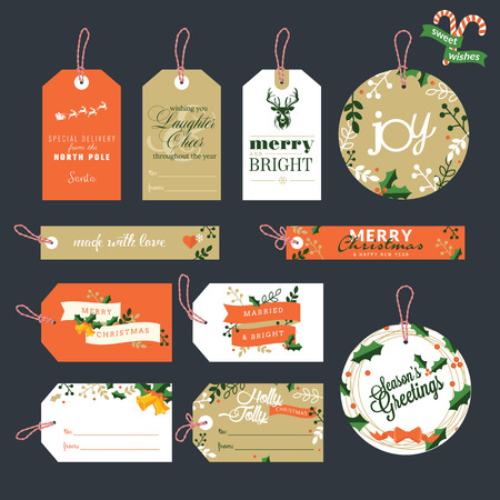 Set of Christmas and New Year gift tags Stock Illustratie
