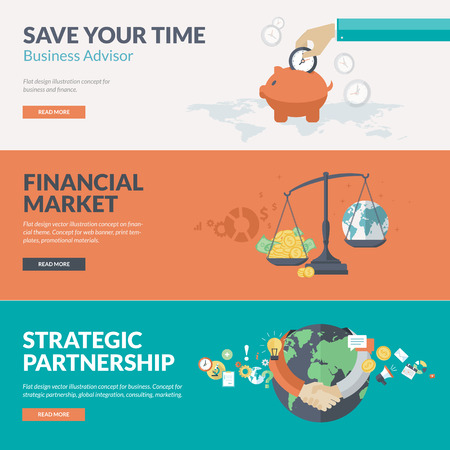Flat design vector illustration concepts for business, finance, business advisor, consulting, financial market, strategic partnership, global integration, marketing. Concepts for web banners, print templates, promotional materials. Ilustracja