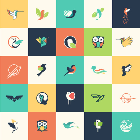 swan: Set of flat design bird icons for websites, print and promotional materials, web and mobile services and apps icons, for cosmetics, healthcare, beauty, fashion, travel, spa, wellness, natural product. Illustration