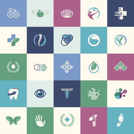Set of flat design icons for medicine, healthcare, pharmacy, and natural product and healthy life,  for websites, print and promotional materials, web and mobile services and apps icons.