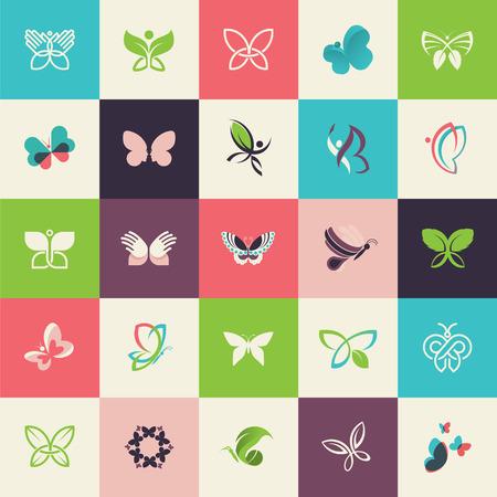 Conjunto de iconos planos mariposa diseño de páginas web, impresión y materiales promocionales, web y servicios móviles y de iconos de aplicaciones, para cosméticos, cuidado de la salud, belleza, moda, viajes, spa, wellness, producto natural.