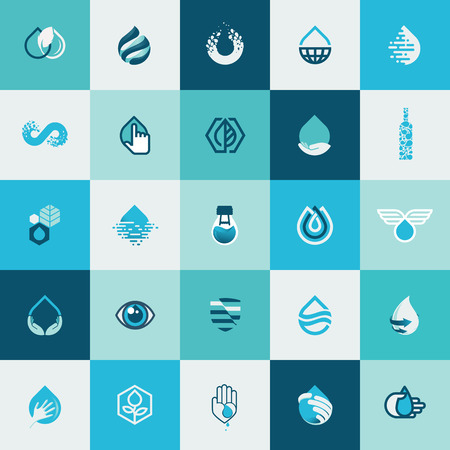 Set of flat design icons for water and nature for websites, print and promotional materials, web and mobile services and apps icons, for food and drink, healthcare, spa, organic product, environment. Ilustrace