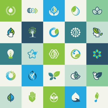 Set flache Bauweise Natur Icons für Websites, Print-und Werbematerialien, Web und mobile Dienste und Apps Icons, für Essen und Getränke, Gesundheit, Wellness, Bio-Produkt, Umwelt, Kosmetik, Wellness, Naturprodukt. Standard-Bild - 34247399