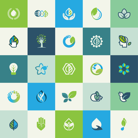 Set of flat design nature icons for websites, print and promotional materials, web and mobile services and apps icons, for food and drink, healthcare, spa, organic product, environment, cosmetics, wellness, natural product.