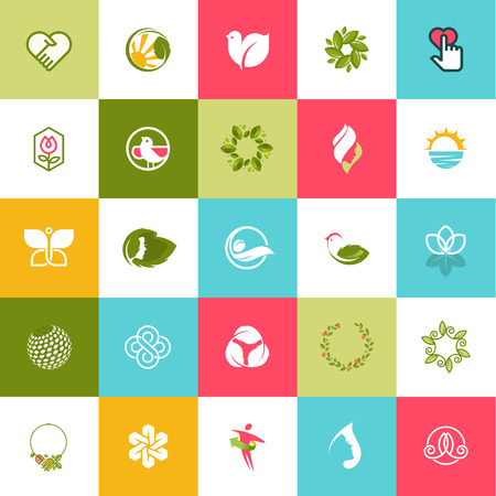 wellness: Set of flat design icons for beauty and nature