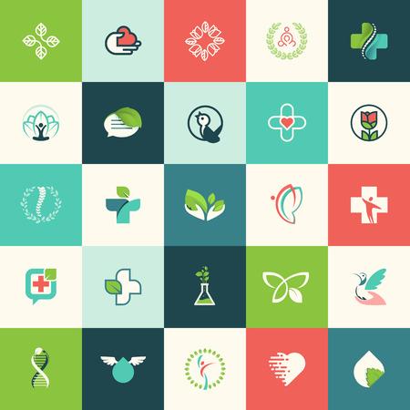 s�mbolo de la medicina: Conjunto de dise�o de la naturaleza y la belleza iconos planos para los sitios web, impresi�n y materiales promocionales, web y servicios m�viles y de iconos de aplicaciones, para la medicina, la salud, spa, cosm�ticos, salud, producto natural, la vida sana.