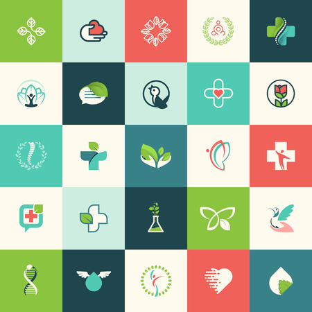 Set of flat design nature and beauty icons for websites, print and promotional materials, web and mobile services and apps icons, for medicine, healthcare, spa, cosmetics, wellness, natural product, healthy life. 向量圖像