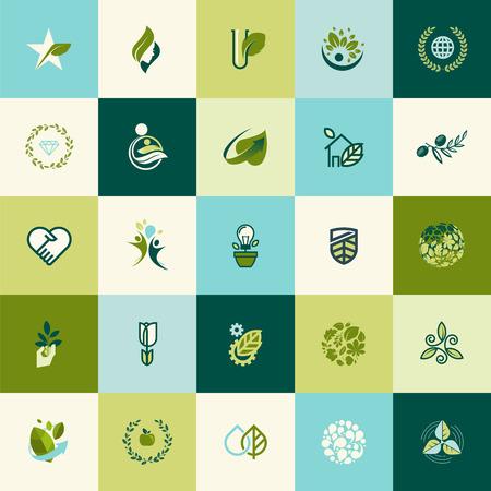 Conjunto de iconos del diseño de la naturaleza planas para sitios web, impresión y materiales promocionales, web y servicios móviles y de iconos de aplicaciones, para la comida y la bebida, salud, spa, cosméticos, salud, producto orgánico natural, vida sana, la tecnología verde. Ilustración de vector