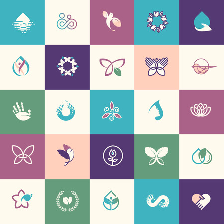 Set of flat design beauty and healthcare icons for websites, print and promotional materials, web and mobile services and apps icons, for aesthetic medicine, healthcare, spa, cosmetics, wellness, natural product, healthy life.