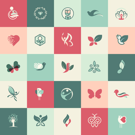 Set of flat design beauty and healthcare icons for websites, print and promotional materials, web and mobile services and apps icons, for aesthetic medicine, healthcare, spa, cosmetics, wellness, natural product, healthy life. Vector