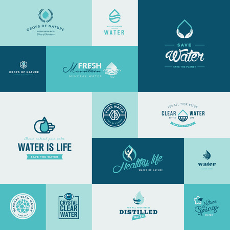 distilled: Set of modern flat design water and nature icons