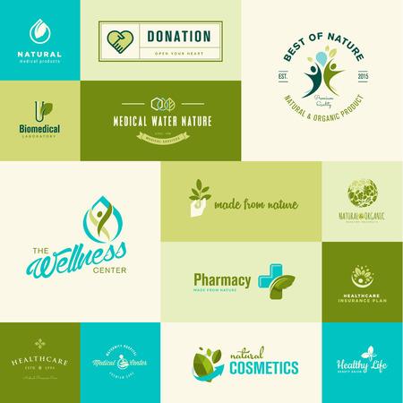 biomedical: Set di moderno design piatto della natura e della sanit� Icone Vettoriali