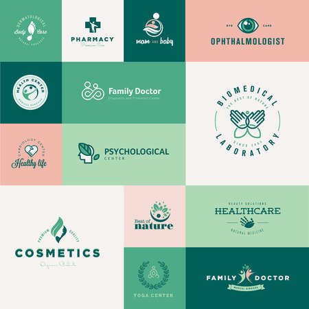 pharmacy symbol: Set of modern flat design healthcare icons Illustration