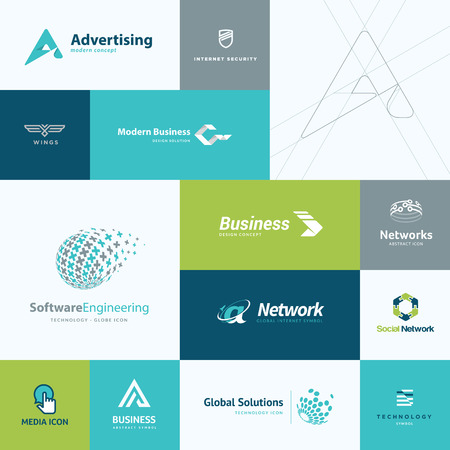 advertising sign: Set of modern flat design business and technology icons