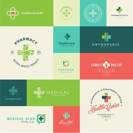 현대 평면 디자인 의료 및 건강 관리 아이콘 세트 일러스트