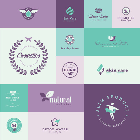 Set of modern flat design beauty and healthcare icons Vector