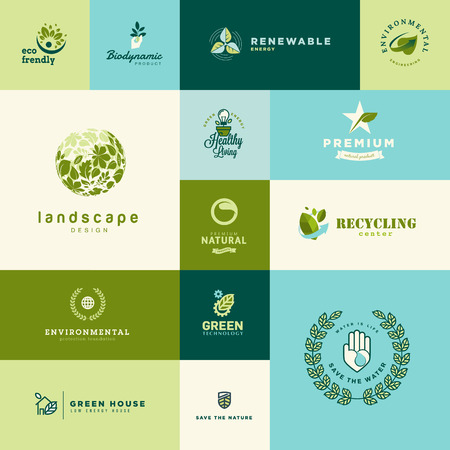 the energy center: Set of modern flat design nature and technology icons Illustration