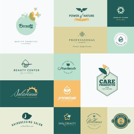 nature beauty: Set of modern flat design beauty icons