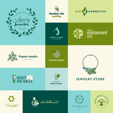 productos naturales: Conjunto de moderno dise�o plano de la naturaleza y la belleza iconos