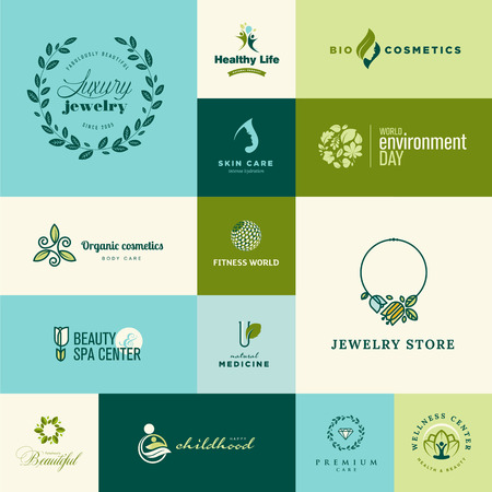 wellness center: Set of modern flat design nature and beauty icons