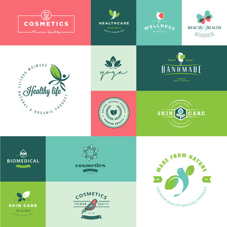 Set of modern flat design beauty and nature icons Vector