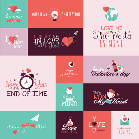 Set of flat design Valentines day signs for greeting card, web banner, badge, ad and printed materials Vettoriali