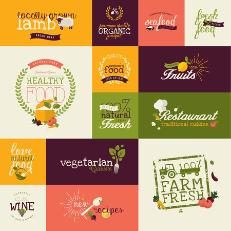 label sticker: Set of flat design icons for natural organic food and drink, restaurant, farm fresh products