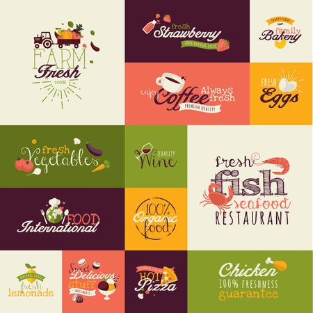 Set of flat design icons for food and drink Illusztráció