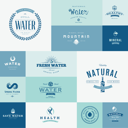 Set of flat design icons for water Illusztráció