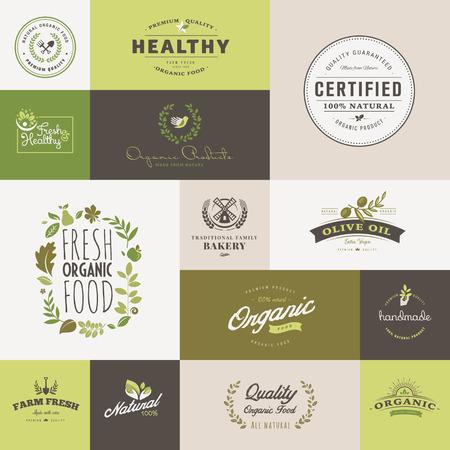 유기농 식품과 음료에 대한 평면 디자인 아이콘의 집합 일러스트
