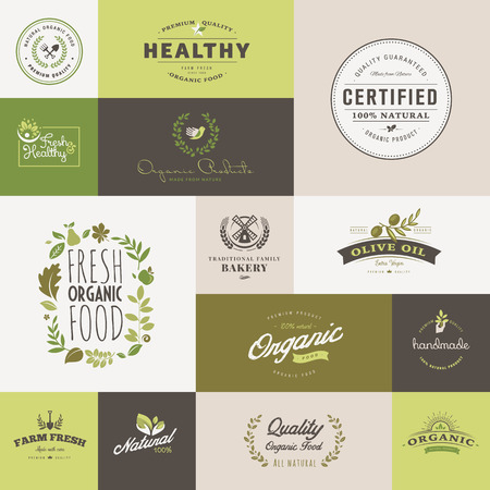 food illustration: Set of flat design icons for organic food and drink