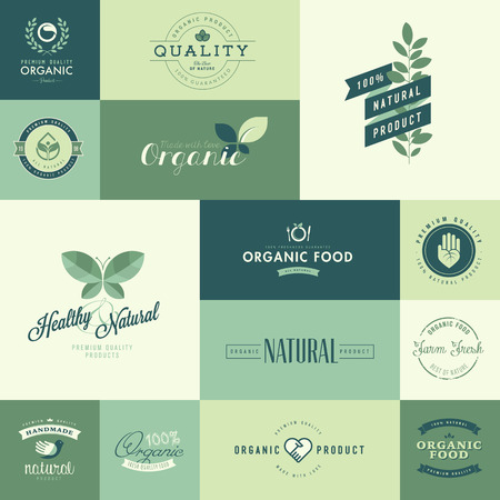food illustration: Set of flat design icons for natural organic products