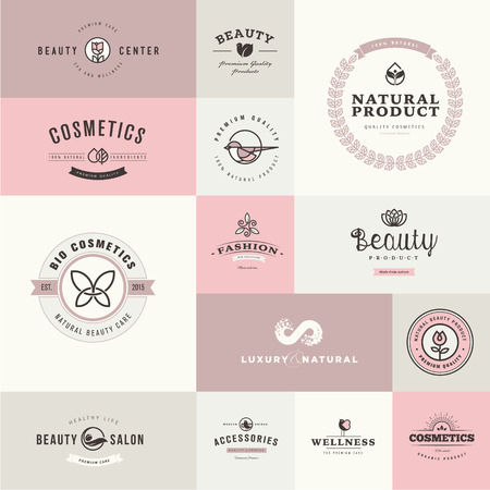 flat leaf: Set of flat design icons for beauty and cosmetics
