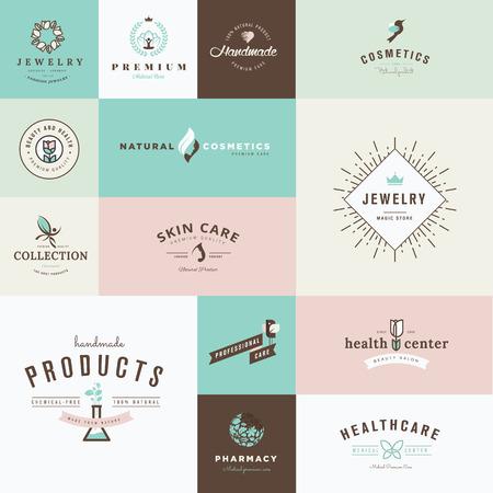 Conjunto de iconos del diseño plano para la belleza y la cosmética, joyería, cuidado de la salud