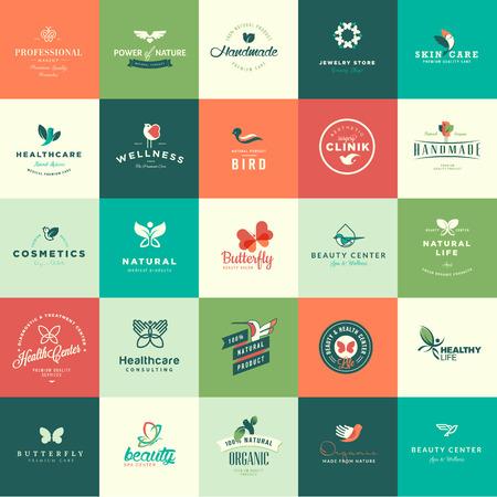productos naturales: Conjunto de animales de diseño de planos y iconos de la naturaleza de los productos naturales, cosméticos, cuidado de la salud, belleza, medicina, spa y bienestar Vectores